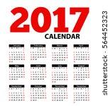 calendar 2017 vector eps 10... | Shutterstock .eps vector #564452323