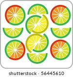 template of sliced grapefruit ... | Shutterstock .eps vector #56445610