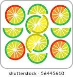template of sliced grapefruit ... | Shutterstock .eps vector #56445610