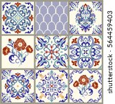 collection of 9 ceramic tiles... | Shutterstock .eps vector #564459403