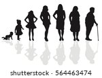 female life cycle silhouette | Shutterstock .eps vector #564463474