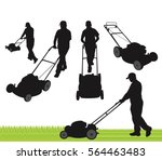 lawn care service silhouette | Shutterstock .eps vector #564463483