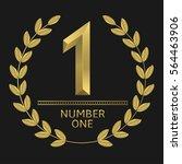 number one icon. golden laurel... | Shutterstock .eps vector #564463906