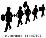 scouts marching band silhouette | Shutterstock .eps vector #564467578