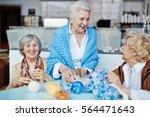 retired females spending... | Shutterstock . vector #564471643