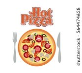 fork and knife with a pizza... | Shutterstock .eps vector #564474628