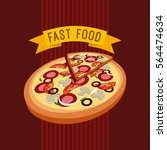 pizza icon over red background. ... | Shutterstock .eps vector #564474634
