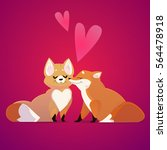 couple of kissing foxes in cute ...   Shutterstock .eps vector #564478918