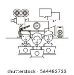 people with multimedia icons... | Shutterstock .eps vector #564483733