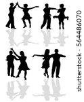couples latin dancing silhouette | Shutterstock .eps vector #564486070