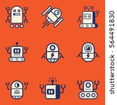 cartoon robot  icon set.... | Shutterstock .eps vector #564491830