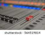 Small photo of Closeup adjustment tools Audio sound mixer music, technology.