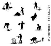 silhouettes farmer shape vector ...