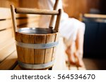 finnish wooden sauna bucket | Shutterstock . vector #564534670