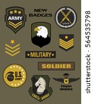 Set of Military and Army Badge and Patches typography, t-shirt graphics, vectors | Shutterstock vector #564535798