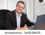 middle aged man smiling at his... | Shutterstock . vector #564538429