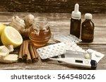 ginger  lemon  honey and ... | Shutterstock . vector #564548026