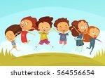 Cartoon Team Of Cheerful...