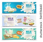 dairy products horizontal... | Shutterstock .eps vector #564556660
