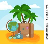 traveling bag suitcase for trip ... | Shutterstock . vector #564564796