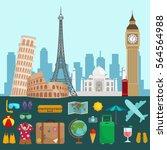 travel tourism icons... | Shutterstock . vector #564564988