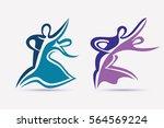 ballroom couple dance symbols... | Shutterstock .eps vector #564569224
