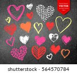 vector color chalk drawn... | Shutterstock .eps vector #564570784