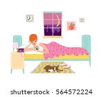 woman talking by phone at night.... | Shutterstock .eps vector #564572224