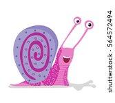 cartoon cute color snail vector ...
