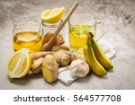 selection of food against flu.... | Shutterstock . vector #564577708