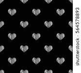 seamless hand drawn heart shape ... | Shutterstock .eps vector #564578893