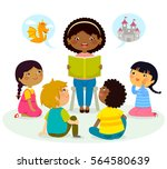 black teacher reading a book to ... | Shutterstock .eps vector #564580639