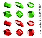 mineral crystal stone red green ... | Shutterstock .eps vector #564582400