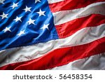 flapping flag usa with wave | Shutterstock . vector #56458354