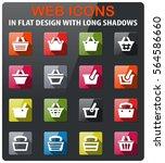 basket icons set in flat design ... | Shutterstock .eps vector #564586660