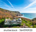 Small photo of St Levans Well, near Porthcurno, Cornwall. The headland is known as Pedn-men-an-mere and the offshore rocks are the Carracks.