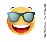 cute very happy with sunglasses ... | Shutterstock .eps vector #564593200
