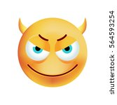 cute evil emoticon on white... | Shutterstock .eps vector #564593254