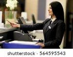 hotel receptionist. modern... | Shutterstock . vector #564595543
