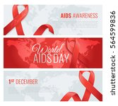 aids awareness banners with... | Shutterstock .eps vector #564599836