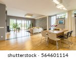 big windows in spacious open... | Shutterstock . vector #564601114