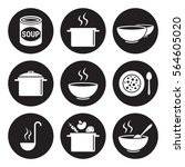 soup icons set. white on a... | Shutterstock .eps vector #564605020