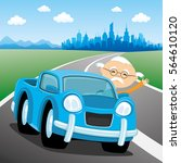 blue car on the road. | Shutterstock .eps vector #564610120