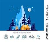 summer camp. night landscape...   Shutterstock .eps vector #564610513