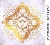 intricate hand drawn ornate sun ... | Shutterstock .eps vector #564611914