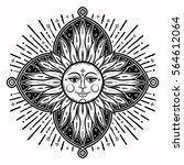 intricate hand drawn ornate sun ... | Shutterstock .eps vector #564612064