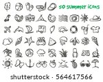 vector doodle summer icons set. ...
