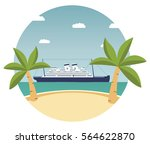 summer tropical beach landscape ... | Shutterstock .eps vector #564622870