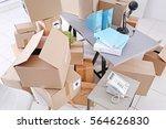 move concept. unpacking... | Shutterstock . vector #564626830