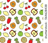 hand drawn fruits seamless... | Shutterstock .eps vector #564628438